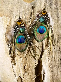 FOREST NYMPH Peacock Feather Earrings by FeatherPixie on Etsy, $29.00