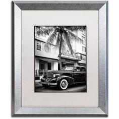 Trademark Fine Art Classic Car Miami Beach Canvas Art by Philippe Hugonnard, White Matte, Silver Frame, Size: 11 x 14