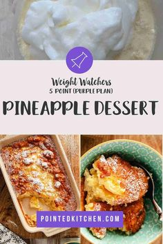 This tasty pineapple dessert is just 5 Smart Points per portion on Weight Watchers Blue, Purple Weight Watchers Pasta, Weight Watcher Cookies, Weight Watchers Desserts, Lunch Recipes, Pasta Recipes, Diet Recipes, Chicken Recipes, Healthy Recipes, Pineapple Desserts