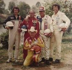 Old photo of a few NASCAR favorites. From Twitter... the King standing tall
