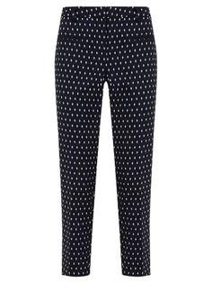 Buy Mint Velvet Pearl Print Capri Trousers, Navy | John Lewis