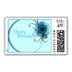 Happy Birthday Peacock Circle Postage Stamp