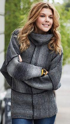 Strikkeopskrift på sweater i stilrent look | Superkreativ sweater i grå nuancer | Håndarbejde