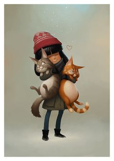 Sweet Kid with 2 Kitties Illustration