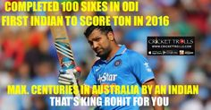 #INDvsAUS #AUSvsIND #TeamIndia #ODI #RohitSharma  Another day, another records by Rohit Sharma  http://www.crickettrolls.com/2016/01/12/rohit-sharma-hitman-of-team-india/