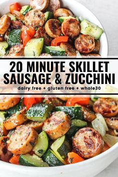 20 minutes · Gluten free Paleo · Serves 4 · Throw together this quick skillet dinner when you need a healthy and satisfying meal in a hurry! You'll love this perfectly seasoned mix of sausage, zucchini, peppers, and onions. compliant… More dinner recipes Def Not, Health Dinner, Think Food, Whole 30 Recipes, Paleo Recipes, Healthy Sausage Recipes, Paleo Food, Sausage Dinner Recipes, Healthy Recipes For Dinner