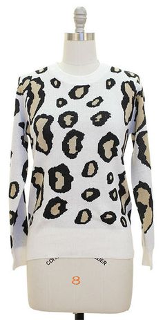 Image of White Leopard Sweater