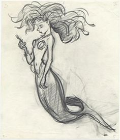 Concept art from the 1989 Disney film, 'The Little Mermaid' Early Ariel