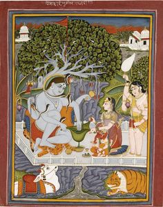 Shiva and Parvati seated under the shady canopy of a banyan tree atop their heavenly abode of Mount Kailasa. Mid-late 19th Century  India, Rajasthan, possibly Kota