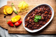 4 Bean Vegetarian Chili from Crackers on the Couch! http://www.yummly.com/blog/2013/02/10-vegan-dishes-even-carnivores-will-devour/