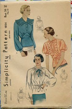 1930s Vintage Sewing Pattern Simplicity
