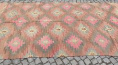 Pastel Turkish Kilim Rug Light Pink  n' Blue Kilim by Sheepsroad, $885.00