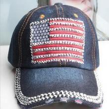 Chic Rhinestones American Flag Shape Patch Embellished Baseball Cap For Women U213-142446501