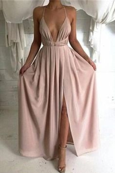 Sexy Prom Dress, V-Neck Chiffon Prom Dresses, Long Open Backs Evening Gowns de bal longues Straps Prom Dresses, Pink Prom Dresses, Backless Prom Dresses, Grad Dresses, Cheap Prom Dresses, Ball Dresses, Pretty Dresses, Homecoming Dresses, Sexy Dresses