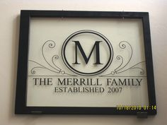 """Family name vinyl idea on a picture frame Www.ChristinesExpressions.com Register and create one of your with """"My Deign Suite"""""""
