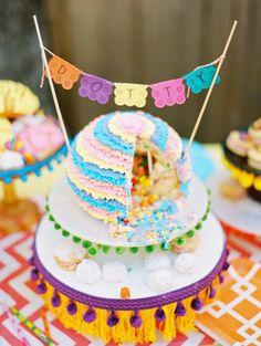 Fiesta birthday by Bows & Arrows: ruffled fondant pinata cake | 100 Layer Cakelet