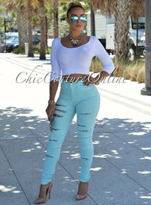 harper blush denim destroyed high-waist skinny jeans couture chic | BOTTOMS - PANTS - Page 1 - Chic Couture Online