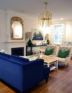 Navy, Green & Gold Living Room