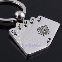 Wish   hot sale new fashion  Poker Keychain Male Personality Metal Key Chain Key Ring Funny Gift 4cm*3cm  Car Keychain Accessories