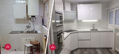 Reforma de cocina blanca en polilaminado brillo