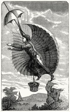 http://www.oldbookillustrations.com/ Seen here: The flying man, From Scribner's Monthly vol. 1 (1870-71), New York.    (Source: archive.org)