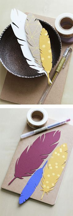 Diy Crafts Now...would make nice bookmarks! Modge pod get on make journals(Diy Paper Feathers)