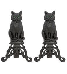 Black Cat Andirons, pair