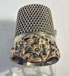 Antique-Sewing-Sterling-Silver-Ketcham-Mcdougall-Drop-Gold-Rim-Sz-9-Thimble