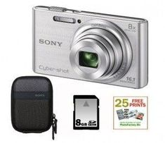 SONY Cyber-shot DSC-W730 Compact Zoom Digital Camera in Silver + 8GB Secure Digital Memory Card + Sony Camera Case + 25 Free Quality Photo Prints
