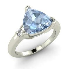 Triangle-Cut Aquamarine Ring in 14k White Gold with VS Diamond