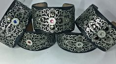 Genuine Leather Filigree Cuff with Bullet Base and by mistydlee, $20.00