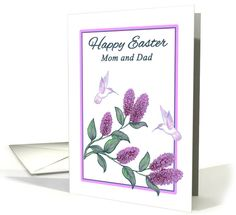Easter for Parents White Hummingbirds and purple Lilac Flowers card