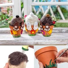 Felted Hidden Bunnies in Terracotta Pots