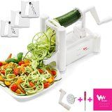 #9: WonderVeg Vegetable Spiralizer  Tri Blade Spiral Slicer  Cleaning Brush Mini Recipe Book and 2 Spare Parts Included  Zucchini Spaghetti Pasta Noodle Maker