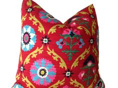 CHOOSE A PILLOW COVER 2 SMALLER THAN THE PILLOW INSERT SO THAT YOUR CORNERS ARE WELL FILLED. Designer Fabric Decorative Pillow  Decorative Stripe Pillow Cover  Colors include bright pink, green, turquoise with ivory, black and citrine on a red background  printed fabric front  The reverse side is a coordinating neutral linen. Machine wash cold / Dry Clean  All my pillows are sewn profession, over lock with finished edges to prevent fraying and have   invisible zipper enclosures. This…