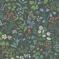 Scandinavian design wallpaper Flora from collection Jubileum by Borastapeter and… Green Wallpaper, Pattern Wallpaper, Wallpaper Backgrounds, Textured Wallpaper, Charcoal Wallpaper, Field Wallpaper, Antique Wallpaper, Floral Wallpapers, Wallpaper Direct