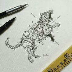 organic to geometric drawing
