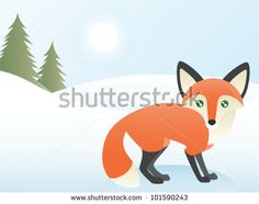 Greeting card design, a red fox at the edge of a forest. Eps 10 Vector.