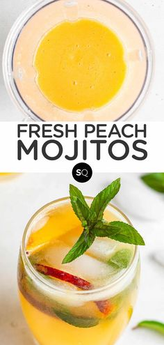 These peach mojitos have a healthy spin with fresh fruit, lime juice and plenty of mint leaves, sweetened with honey instead of sugar. They are a refreshing and light summer cocktail made with just 7 ingredients in a blender. More of the best summer drink recipes are on the blog! Summer Drink Recipes, Summer Cocktails, How To Make Mojitos, Healthy Drinks, Healthy Eats, Peach Rum, Plant Based Meal Planning, Mojito Recipe, Vegan Meal Plans