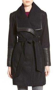 106b7275a2 Women s Belle Badgley Mischka  Lorian  Faux Leather Trim Belted  Asymmetrical Wool Blend Coat Winter