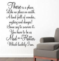 Alice in Wonderland Wall Quote MAD AS A HATTER WA087 | eBay