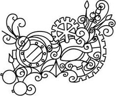 Gears, watch hands, and more steampunk flourishes make up a unique mask design. Stitch it to decorate pillows, book covers, and more! Downloads as a PDF. Use pattern transfer paper to trace design for hand-stitching.