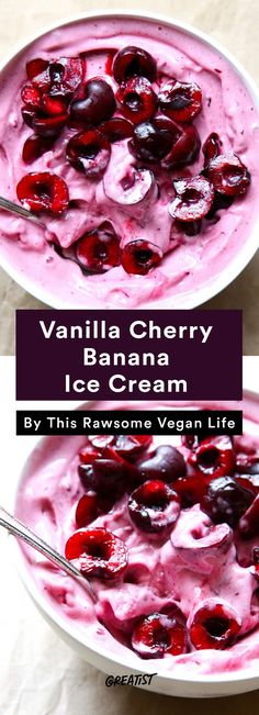 9 Ice Cream Recipes That Don't Require Fancy Equipment. No-Churn Vanilla Cherry Banana Ice Cream Raw Desserts, Ice Cream Desserts, Frozen Desserts, Ice Cream Recipes, Frozen Treats, Dessert Recipes, Soft Serve Vanilla Ice Cream Recipe, Snack Recipes, Cherry Ice Cream