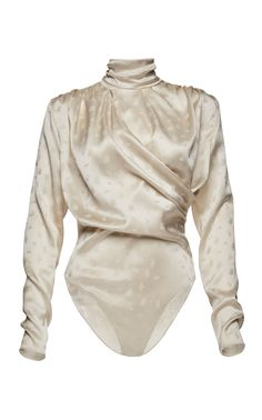 Favara Draped Floral-Print Silk Bodysuit by Magda Butrym Stage Outfits, Fashion Outfits, Womens Fashion, Luxury Nightwear, Pullover Shirt, Magda Butrym, Long Sleeve Bodysuit, Women Lingerie, Cute Outfits