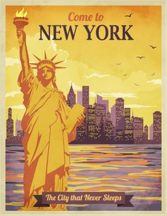 Vintage Poster Travel to New York Poster - Vintage travel New York Poster, City Poster, Poster S, Typography Poster, Retro Poster, Party Vintage, Retro Vintage, Vintage Style, Vintage Room