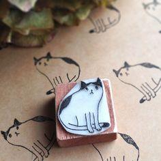 ハンドメイドマーケット hand carved rubber cat stamp