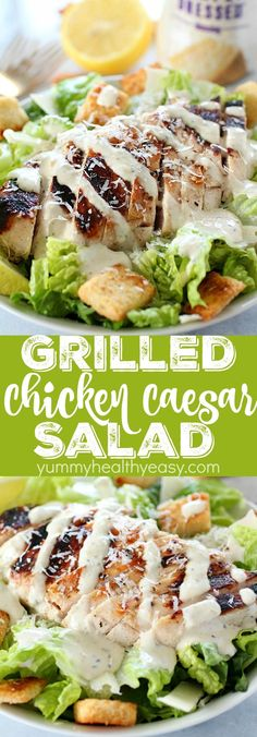 Grilled Chicken Caesar Salad for a yummy summertime lunch or dinner! With a simple yogurt marinade recipe, this grilled chicken is tender and delicious. Served over romaine lettuce, homemade croutons, shaved parmesan and caesar dressing - YUM! Grilled Chicken Caesar Salad, Grilled Chicken Recipes, Chicken Ceaser Salad Recipe, Ceaser Chicken, Ceaser Dressing Recipe, Grilled Chicken Strips, Shrimp Salad, Chicken Meals, Shredded Chicken