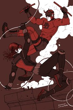 Daredevil and Black Widow by Ramon Villalobos *