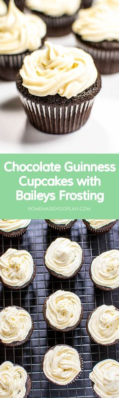Chocolate Guinness Cupcakes with Baileys Cream Cheese Frosting! Celebrate the…
