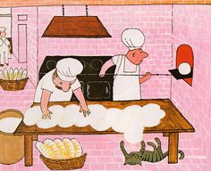 Cute cat trying to knead the dough for the bread baker.
